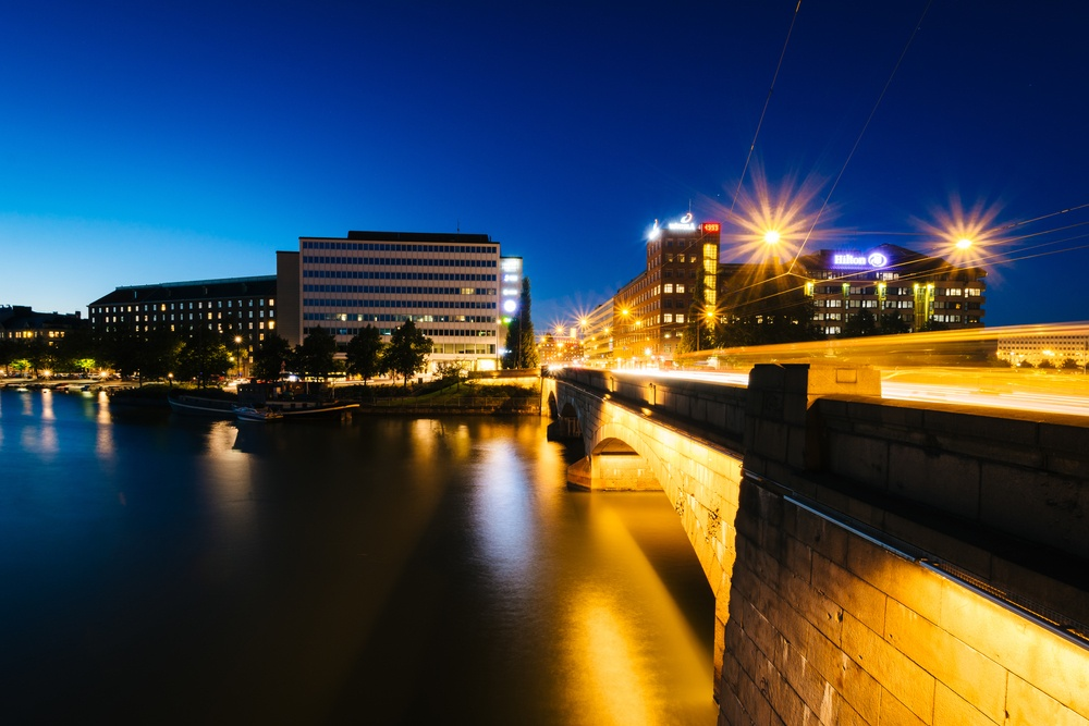 The Pitk�¤silta Bridge at night, in Helsinki, Finland..jpeg