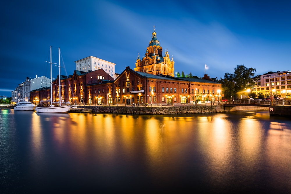 View of the island of Katajanokka and Uspenski Cathedral at night, in Helsinki, Finland.